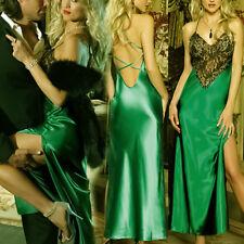 Damen Lingerie Lang Nachtkleid Reizwäsche Babydoll Negligee mit G-string Grün