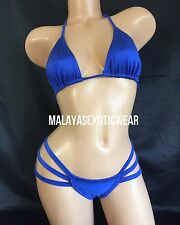 Exotic Dancer Stripper Sexy Royal Blue Strappy Spider Thong Bikini Dancewear Set