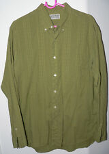 Men's LUCKY BRAND Size Large Green Striped L/S Cotton Button Up Collar Shirt