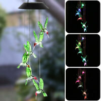 Color-Changing LED Solar Powered Hummingbird Wind Chime Lights Yard Garden Decor