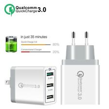 QC 3.0 Fast Quick Charge Adapter 3 Ports USB Home Wall Charger 30W UK/EU Plug