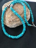 """Native American Sterling Silver Turquoise Bead Necklace Pendant 21""""  326"""