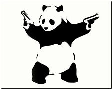 "BANKSY STREET ART *FRAMED* CANVAS PRINT Panda Bear guns 20x16"" stencil -"