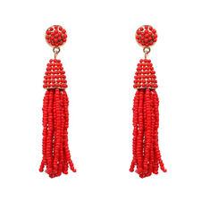 Boucles d'Oreilles Mini Perle Pompon Tassel Fait Main Artisanal Rouge AA21