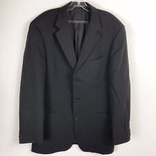 Hugo Boss Men Wool 42L Black Blazer 3 Button Long Sleeve Collar