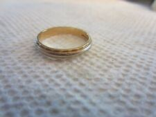 VINTAGE 14K GOLD BAND RAYS OF LOVE TWO TONED RING YELLOW AND WHITE GOLD