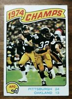 Topps 1974 Steelers AFC Champs football card Terry Bradshaw/ Franco Harris #526