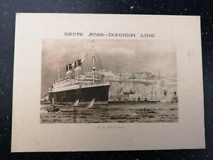 White star line postcard S.S. Regina + Abstract of log