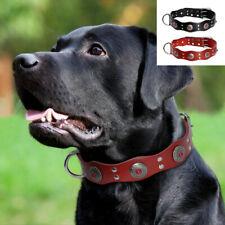 Red/Black Handcraft Real Leather Studded Dog Collars D-ring Boxer Doberman M L