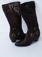 WOMENS BUFFALO LONDON LONG BOOTS 100 % GENUINE LEATHER BROWN SIZE EUR 39 UK6 EXC