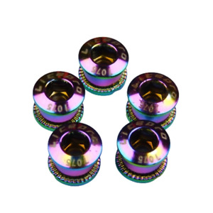 Chainring Bolts Single for Road & MTB Bikes 7075 Alloy 5 pack in Rainbow Oil Sli