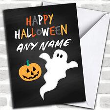 Black Ghost & Pumpkin Personalised Halloween Card