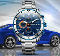 Men's Analog Quartz Multi-function Dial Business Watch Stainless Steel Blue