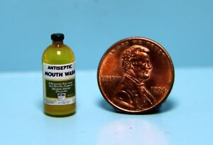 Dollhouse Miniature Detailed Replica Antiseptic Yellow Mouth Wash Bottle HR52135