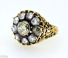 Magnificent Georgian Rose Cut Diamond Cluster Ring in Gold