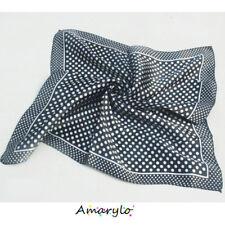 Foulard Carré satin de polyester (soie artificielle) Pois blancs sur fond  noir b7cf09b140c