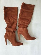 Womens Lipsy Tan Ruched Boots Bnwt Rrp £86 Size Uk 8