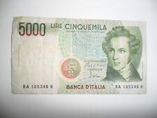 BANCONOTA 5000 LIRE BELLINI RA 105346 H  REPUBBLICA ITALIANA 1985