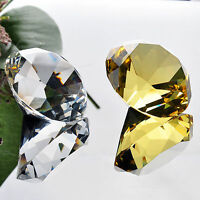 40mm Clear Yellow Crystal Diamond Cut Paperweight Glass Gift Ornament Jewel Gift