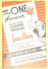 The One Answer to Cleaning Problems - Lan-O-Sheen 1944 Brochure  Nice!  SEE!