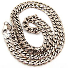 Long Heavy Sterling Silver Italian Chain Necklace 32 inches 54.6 gr Rigid Cut