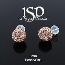 14k Yellow Gold 8mm Peach Pink Austrian Crystal Disco Ball Studs Earrings