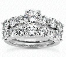 Semi-Mount Round Diamond Ring Set Anniversary band F color .15 ct each, 1.95 tcw