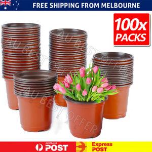 100x Plastic Plant Flower Garden Pots Nursery Seedlings Pot Growing Container AU