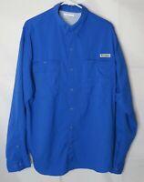 Columbia Men's Long Sleeve Shirt PFG Blue Button Front Omni Shade Size L