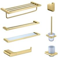 Brushed Gold Bathroom Accessories Hardware Towel Bar Rail Toilet Paper Holder