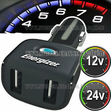 Energizer 12v 24v Coche Iphone Ipad Doble Carga Usb Enchufe Adaptador De Corriente Cargador