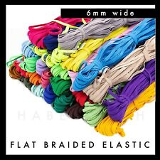 Colourful Flat Braided Elastic 6mm per 5 metres Band colour Red pink blue green