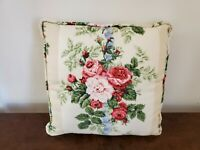 """Vintage Tan Stripe Rose Floral Throw Pillow 12"""" Square Cottage Shabby"""