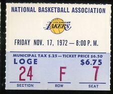 Basketball Ticket L.A. Lakers 1972 Buffalo Braves 11/17 Wilt Chaimberlain