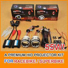 """55W 2.5"""" Motorcycle Car HID BI-XENON Light Projector Kit Halo Angel Devil Eye"""
