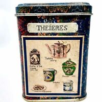 Small Theieres Tea Collectible Tin Metal Storage Container w/ Teapots, Teacup