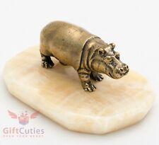 Bronze Figurine of Hippopotamus Hippo Behemoth on Onyx stone