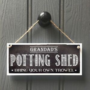 Personalised POTTING SHED sign - Chalkboard Style Greenhouse Gardener Plaque