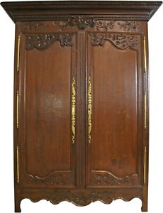 ARMOIRE ANTIQUE FRENCH COUNTRY FARMHOUSE 1900 LARGE SOLID OAK FLORAL ROSES