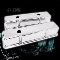 STEEL 1958-86 CHEVY SB 283-305-327-350-400 TALL VALVE COVERS SMOOTH - CHROME