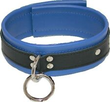 Dominance Blue Leather Lust Collar with O-Ring Hell's Couture