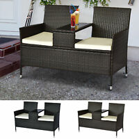 2 Seat Rattan Wicker Chair Bench with Tea Table Padded Seat