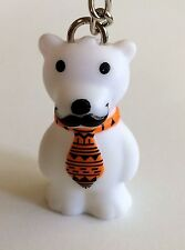White Bear Mustache Orange Tie Star Awards FOB Keychain