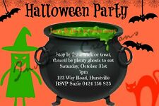 Diy Print Custom Halloween Scary Ghost Witch Couldron Birthday Party Invitations