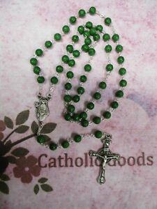 Pewter (7 mm Green Round Shamrock beads) - St Patrick centerpiece -  Rosary