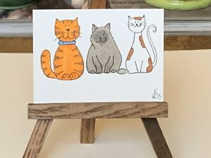 "ACEO ORIGINAL Miniature Art By PJR ""Three Fat Cats"" Collectible Card Kitty Cat"