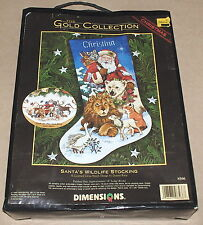"Dimensions Gold / Race Christmas ""Santa's Wildlife Stocking"" Cross Stitch Kit"