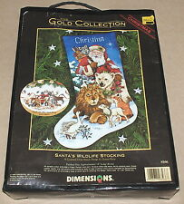 "Dimensions Gold / Race Christmas ""Santa's Wildlife Stocking"" Cross Stitch Kit"