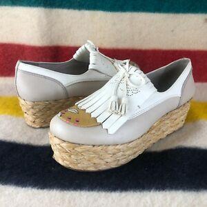 Tory Burch Leather White Tan Platform Espadrille Comfort Shoes Sz 11 M S019
