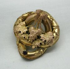 Lovely Mid Victorian Ornate Gold Pinchbeck And Amethyst Brooch
